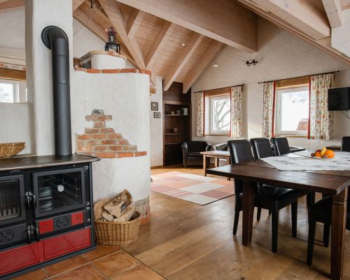 large living room and tiled stove